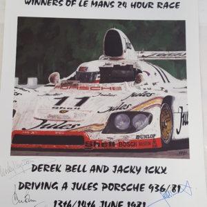 1981 Le Mans Poster - 6 Autographs