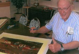 Dan Gurney Signing Ford GT Michael Mate Print