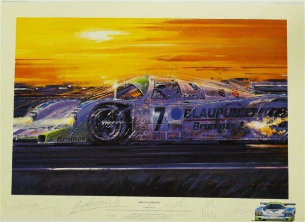Daytona Porsche Autographed Print by Nicholas Watts