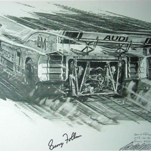 Wall art signed memorabilia of auto art LandM Porsche Nicholas Watts in Pencil