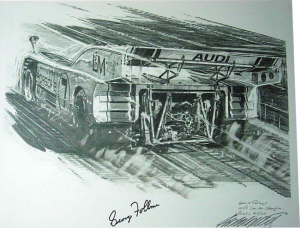 Wall art signed memorabilia of auto art LandM Porsche Nicholas Watts in Pencil