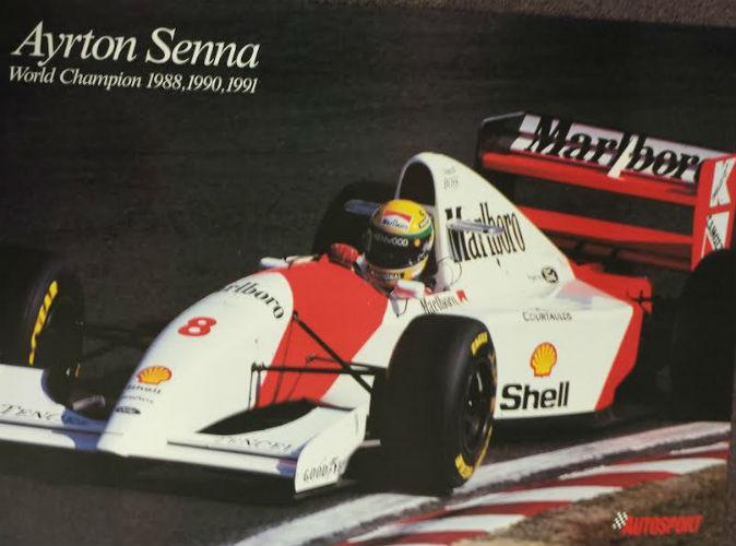 Ayrton Senna Brasil F1 World Champion large signed 12x18 inch photograph poster