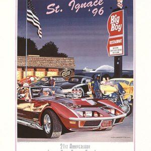 1996 St. Ignace Vintage Car Show Poster – Ken Eberts