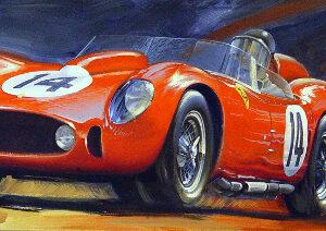 Vintage car racing artwork for sale - Phil Hill Testa Rossa