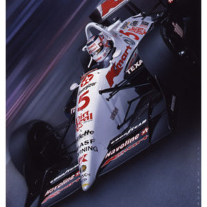 Car racing art poster of Nigel Mansell in Paradise