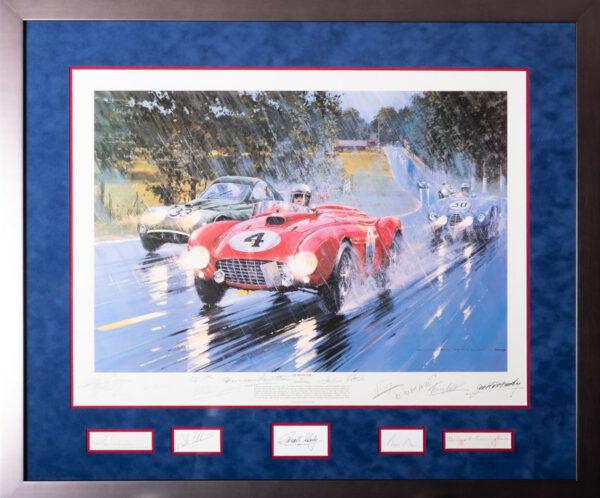 Framed Le Mans 1954 with 14 Autographs