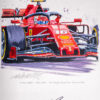 Leclerc Ferrrari SF 90 Autographed Painting - Nicholas Watts