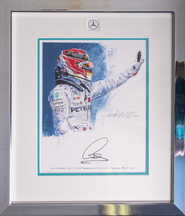 Lewis Hamilton 2019 Autographed Framed Painting - Nicholas Watts