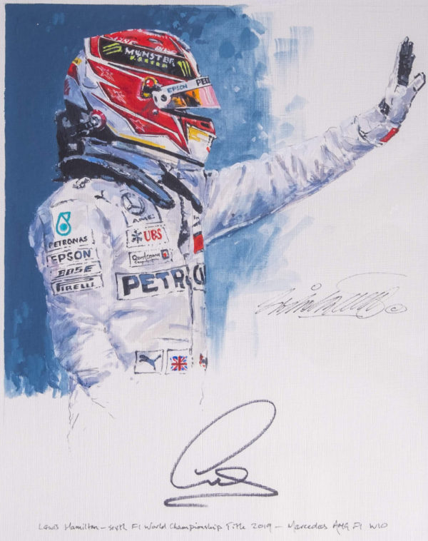Lewis Hamilton 2019 Autographed Painting - Close Up