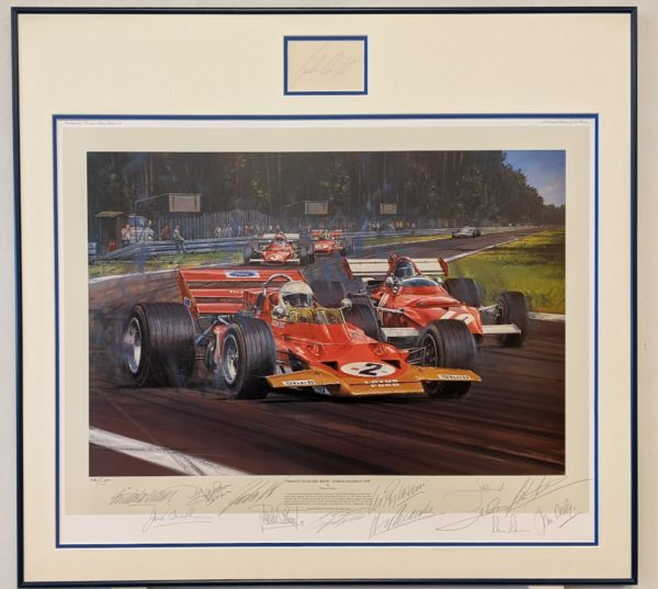 Tribute To Jochen Rindt Framed with Jochen Rindt autograph