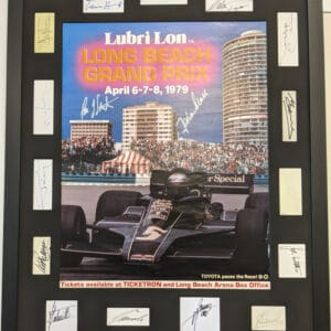 1979 Framed & Glassed Long Beach Poster With 17 Autographs
